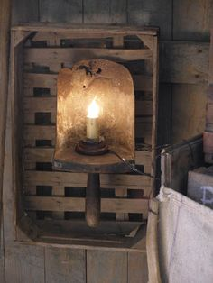 Primitive lighting made from a grain trowel and an old wooden box. Primitive Lighting, Primitive Candles, Primitive Crafts, Prim Decor, Country Decor, Rustic Decor, Farmhouse Decor, Country Homes, Vintage Farmhouse