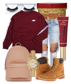 """up next 3"" by missmeraperry ❤ liked on Polyvore featuring Too Faced Cosmetics, PB 0110, Timberland and Rolex"