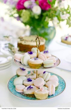 Iced cupcakes and freshly baked macaroons are not only a delight to the taste buds, but also a feast for the eyes, making them the ideal desserts to serve at your tea party. | Photographer: Yolandé Marx