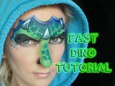 Fast & Easy One-Stroke Dinosaur Face Painting Tutorial