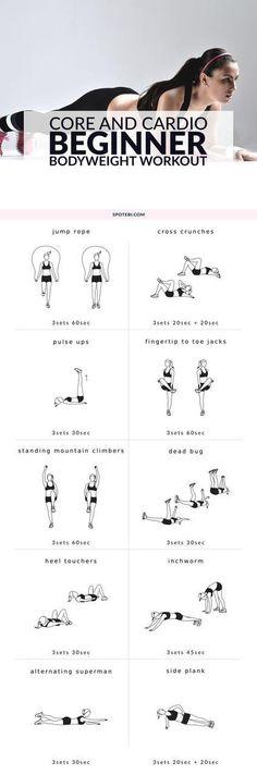 Core & cardio beginner body weight workout