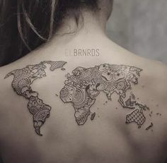 Great mapamundi tattoo by El Bernardes