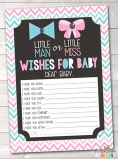 Gender Reveal Party Pink & Blue Chevron Printable Baby Wishes Cards – Erin Bradley/Ink Obsession Designs