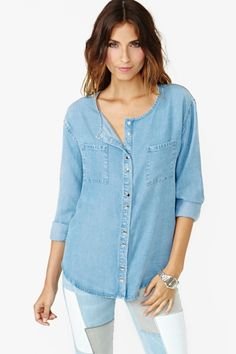 Forever Summer Chambray Top  by Nasty Gal