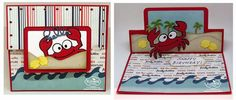 Frances Byrne using the Pop it Ups Rectangle Pull Card, Beach Edges, Rocky the Crab, Rectangle Accordion (hello) and Katie Label dies by Karen Burniston for Elizabeth Craft Designs. - Snappy Birthday