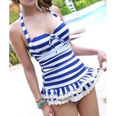 Navy Style Halterneck Striped Bow Tie Women's Swimwear, BLUE, XL in Swimwear | DressLily.com