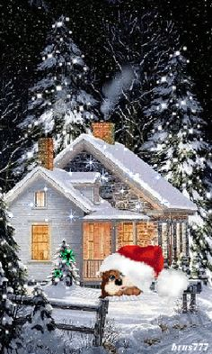 Christmas GIF: Look at what is hiding under Santa's hat. Christmas Scenes, Christmas Pictures, Christmas Art, Christmas Greetings, Beautiful Christmas, Winter Christmas, Christmas Lights, Christmas Decorations, Funny Christmas