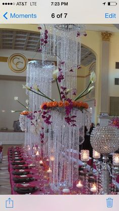 Head table centerpiece in bling!