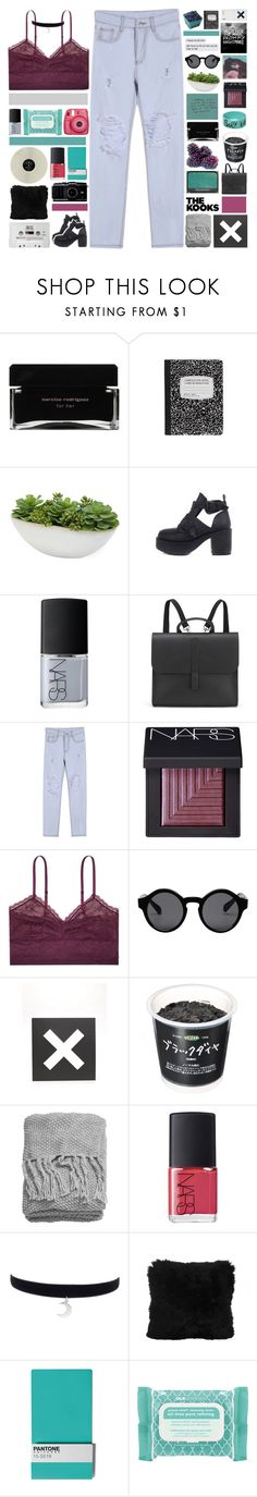 """""""everything is blue his pills, his hands, his jeans"""" by nothing-like-outerspace ❤ liked on Polyvore featuring Narciso Rodriguez, Distinctive Designs, NARS Cosmetics, Danielle Foster, Body by Victoria, Monki, Urban Outfitters, American Eagle Outfitters, H&M and KEEP ME"""