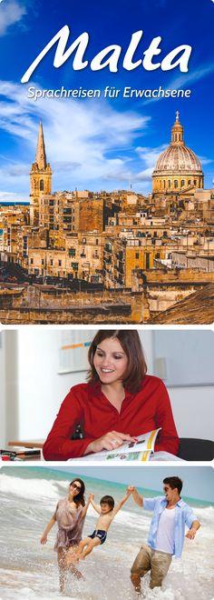 Sprachreisen für Erwachsene nach Malta. #sprachreisen #malta #pankesprachreisen Malta, Lps, Movie Posters, Movies, Language School, Language, Vacation, Malt Beer, Films