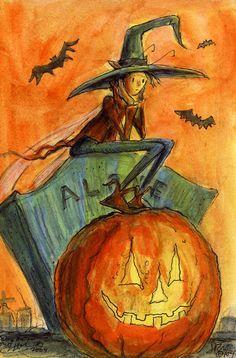 ALONE Halloween Fairy Faery  Cemetary Sunset Signed Print by JOHN RANDALL YORK