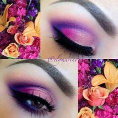 Gorgeous pink and purple smokey eye.