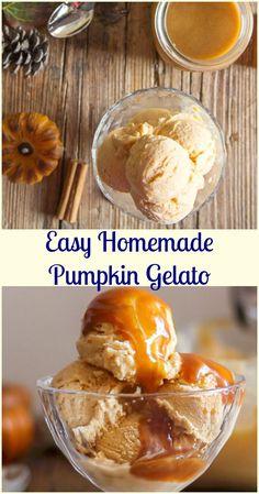 Easy Homemade Pumpkin Gelato, a creamy ice cream recipe, made with pumpkin puree, the perfect Thanksgiving dessert.  #ice cream #pumpkin #gelato #thanksgiving #dessert #frozen #no bake via @https://it.pinterest.com/Italianinkitchn/