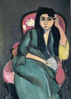 Laurette in Green in a Pink Chair - Henri Matisse