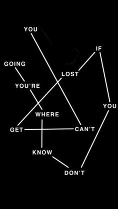You can't get lost If you don't know where you are going!!!