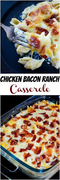 Chicken Bacon Ranch Casserole! How amazing does this recipe look?! The family will go crazy over these