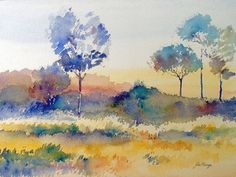 evening landscape print of watercolour by John by johnmenage1