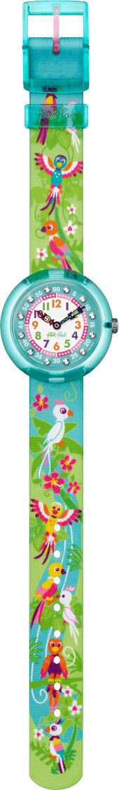 Know a little miss keen on learning to tell the time? No sweat. This Swiss watch is a ticket to a tropical rainforest inhabited by pretty parrots, happy humming birds and zany botany. Colored numbers, gemstones and Flik Flak hands are the coolest on-board equipment ever.