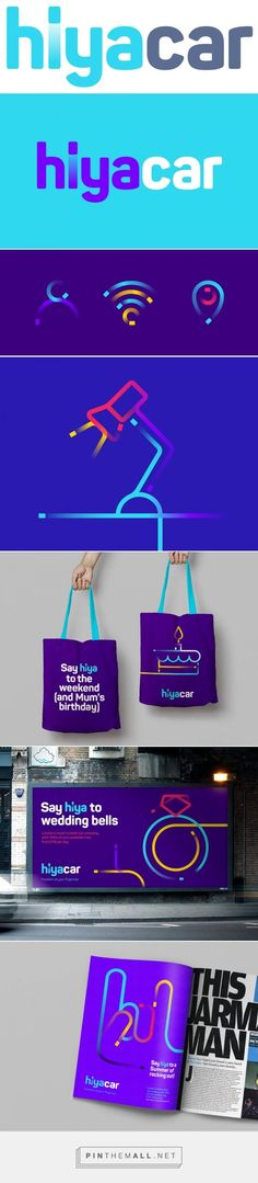 Brand New: New Logo and Identity for HiyaCar by SomeOne. - a grouped images picture - Pin Them All Corporate Identity Design, Brand Identity Design, Visual Identity, Branding Design, Branding And Packaging, Logo Branding, Branding Tools, Logos Online, Business Calendar