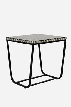 Bone Inlay Side Table - Square, Cuban