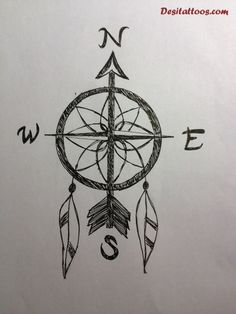 Trendy Compass Tattoos Sketch