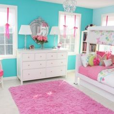 Turquoise Girls Bedroom Design, Pictures, Remodel, Decor and Ideas. Love the shades with the pink ribbon ties.