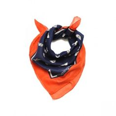 Paper boat navy blue scarf