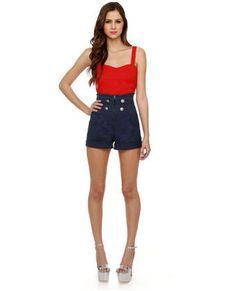 heetheadz.com high waisted navy shorts (01) #highwaistedshorts