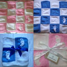 Footprint blankets 60 x 60 cm approx £20 each Any colour available Iced pink/white Bluebell/white featured above