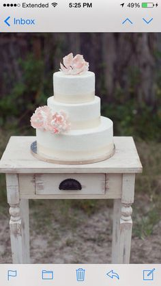Wedding cake will b on antique table like this