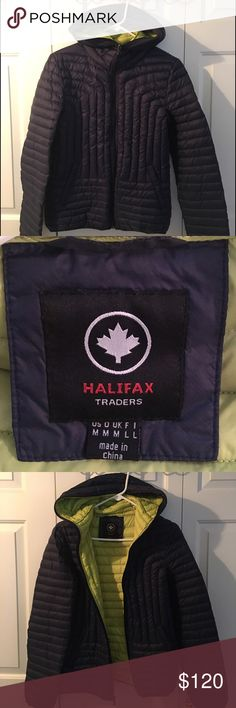 ⬇️PRICE DROP! Halifax Traders Down Puffer Jacket Halifax Traders Navy Blue Hooded Puffer Lightweight Jacket. Has own pouch connected inside to roll up and pack away! Lightweight but very warm. Hood zips all the way closed. Comfy, warm, and stylish; once you put it on you'll never want to take it off! 100% nylon shell, filling is 80% down and 20% feathers Halifax Traders Jackets & Coats Puffers