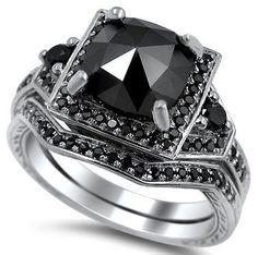 Black Diamond Cushion Cut Engagement Ring | From Blog: 25 Black Diamond Engagement Rings via InkedWeddings.com