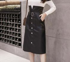 New black faux leather high waist button down midi length petite women skirt Midi Length Skirts, Petite Women, Black Faux Leather, Button Downs, High Waisted Skirt, Fashion, Moda, High Waist Skirt, Fashion Styles