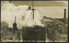 "The Steamer ""Strathlyon"" with her cargo on fire at Falmouth, 21 Jan 1908  Real photographic - E A Bragg & Co, Lanhydrock House, Claremont Place, Falmouth (1)"