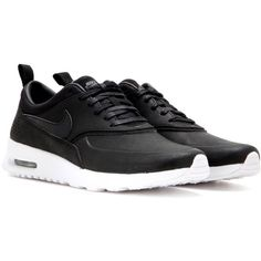 Nike Nike Air Max Thea Jolie Leather Sneakers ($152) ❤ liked on Polyvore featuring shoes, sneakers, nike, zapatos, sport, black, sports shoes, sport shoes, leather shoes and black sneakers