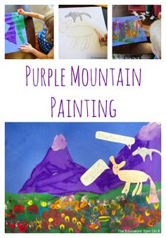 Purple mountain craft for children to accompany America the Beautiful and fable. Reading extension art project.