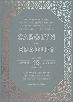 Dove gray art nouveau inspired botanical wedding invitation in gray and gold foil - a lovely idea for a gray wedding.
