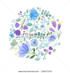 Watercolor flowers frame template 3 - stock photo