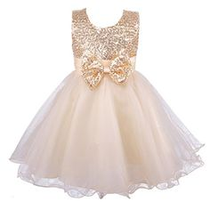 Colorful House Girls' Sequined Formal Wedding Bridesmaid Party Dress, Gold Size 4 for US 3T (3 Years) *** Visit the image link more details.