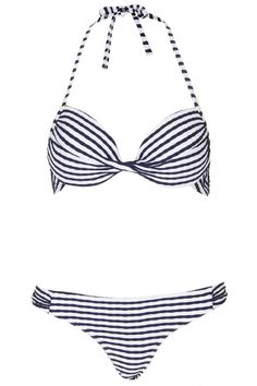 Topshop Navy Ruche Stripe Plunge Bikini, $60; us.topshop.com