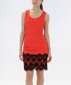 Loving this Coral & Black Lace-Trim Sheath Dress - Women on #zulily! #zulilyfinds