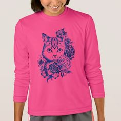 Hand Drawn 10 Blue Shades Cat Girls Longsleeve Tee - girl gifts special unique diy gift idea