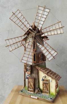 Clay Wall Art, Clay Art, Miniature Fairy Gardens, Miniature Houses, Wind Mill Craft, Fairytale House, Doll House Crafts, Diy And Crafts, Paper Crafts