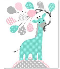 GIraffe Nursery Art, Gray Pink Teal, Girl's Room Decor, Toddler Room Art, Childrens Wall Art, Playroom Decor, Baby Shower Gift, Baby Girl by SweetPeaNurseryArt on Etsy