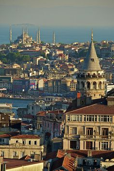 Istanbul - View of Galata Tower and Sultanahmet Mosque