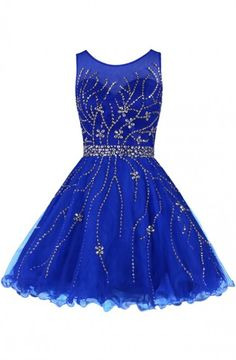 Classical Scoop A-line Knee Length Tulle Royal Blue Homecoming Dress With Beading