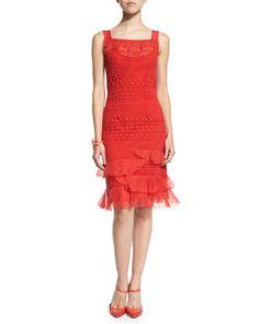 Sleeveless+Banded-Lace+Dress,+Vermillion+by+Oscar+de+la+Renta+at+Neiman+Marcus.