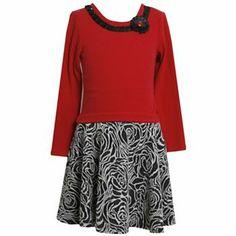 Bonnie Jean Drop-Waist Floral Jacquard Dress - Girls 7-16
