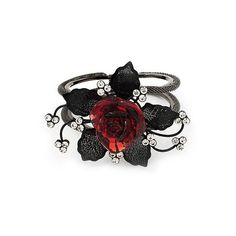 ❤ red and black rose ring Goth Jewelry, Red Jewelry, Fantasy Jewelry, Jewelry Rings, Jewelery, Jewelry Accessories, Fashion Accessories, Flower Jewelry, Magical Jewelry