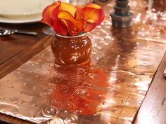 Awesome copper table runner... this could be gorgeous in a fall tablescape
